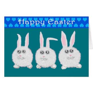 Tres Bunnys blanco dulce, Pascua feliz Tarjeta De Felicitación