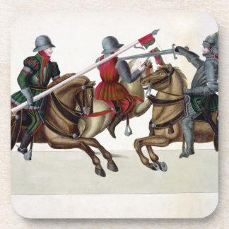 Tres caballeros en un torneo, placa 'de un Histo Posavasos De Bebida