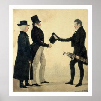 Tres caballeros que se saludan (w/c y tinta w póster