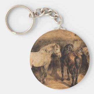 Tres caballos en su establo de Theodore Gericault Llavero Redondo Tipo Pin