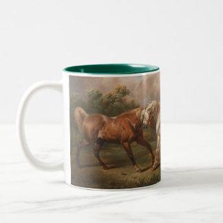 Tres caballos en un paisaje tempestuoso taza de dos tonos