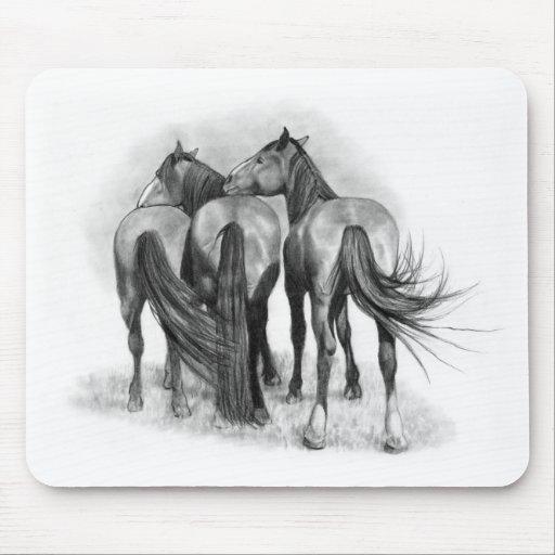 Tres caballos: Extremos posteriores: Afecto: Arte  Alfombrillas De Ratones