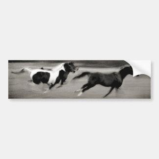 Tres caballos galopantes pegatina de parachoque