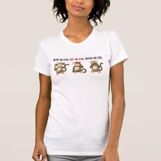 Tres camisetas sabio de los monos playeras