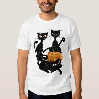 Tres camisetas transparente de los gatos negros poleras