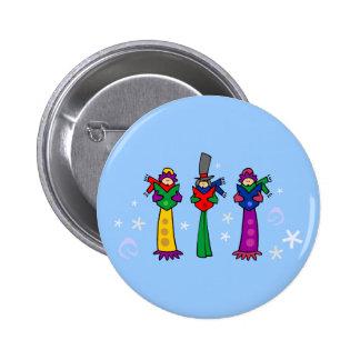 Tres Carolers del navidad Pin Redondo De 2 Pulgadas