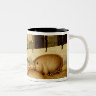 Tres cerdos con el castillo en el fondo tazas de café