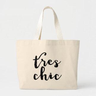 Tres Chic French Phrase Jumbo Tote Bag