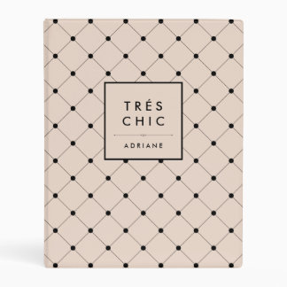 Tres Chic Parisian Pink and Black Dots Pattern Mini Binder