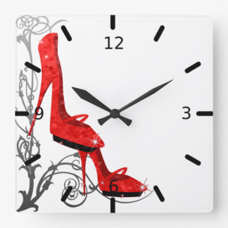 Tres Chic Red High Heels Art Nouveau Design Square Wall Clock