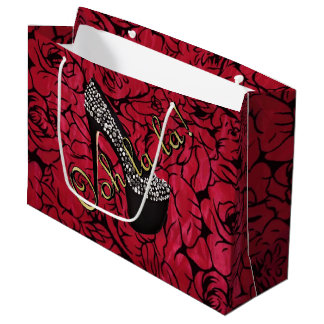 Tres Chic Rouge Fleurs Large Gift Bag