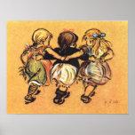 Tres chicas 1900's temprano impresiones