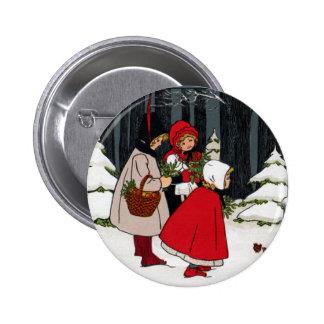 Tres chicas con navidad del vintage del muérdago pin redondo de 2 pulgadas