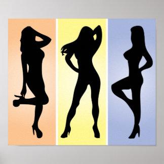 Tres chicas en cajas poster