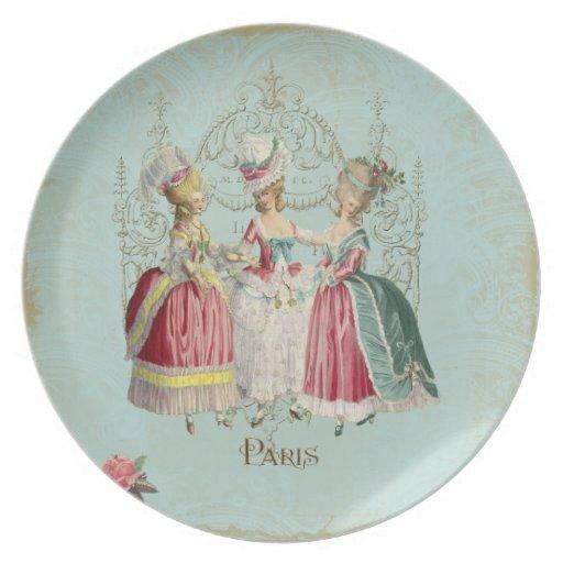Tres chicas en la corte de Marie Plato De Comida