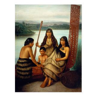Tres chicas maoríes y una postal de Lindauer del