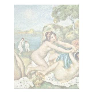 Tres chicas que se bañan con el cangrejo de plantilla de membrete