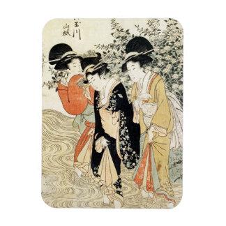 Tres chicas que se baten en un río de la moda imán de vinilo