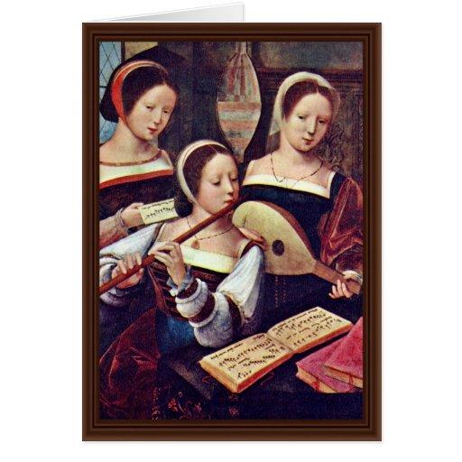 Tres chicas que tocan los instrumentos musicales p felicitación