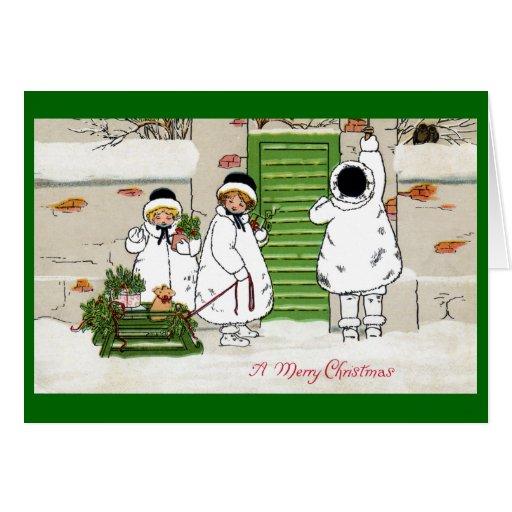Tres chicas y cerdos en navidad del vintage del tr felicitaciones