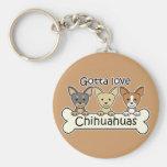 Tres chihuahuas llaveros