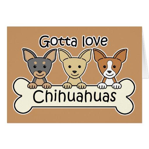 Tres chihuahuas tarjeta pequeña