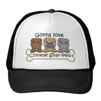 Tres chinos Shar-Peis Gorro