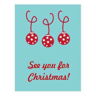 Tres chucherías del navidad con las estrellas tarjeta postal