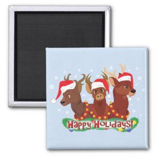 Tres ciervos del navidad imanes
