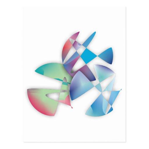 Tres círculos abstractos tarjeta postal