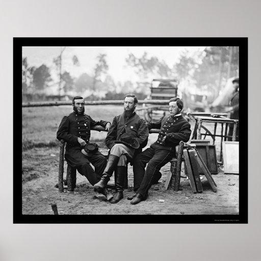 Tres cirujanos en el cerco de Petersburgo, VA 1864 Póster