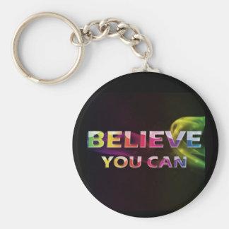 Tres citas de la palabra ~Believe le Can~ Llavero Redondo Tipo Pin