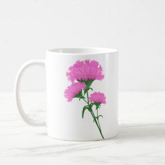 Tres claveles rosados tazas de café
