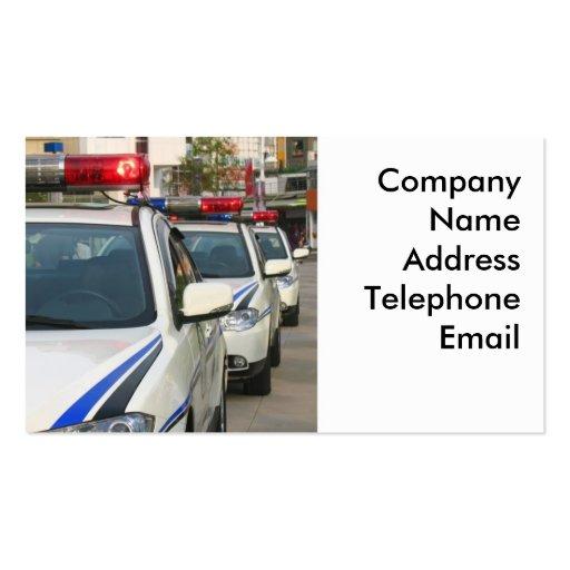 Tres coches policía tarjetas personales