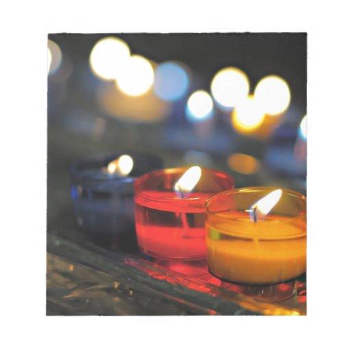 Tres colores de velas bloc de papel