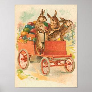 Tres conejitos con el vintage Pascua de los huevos Póster