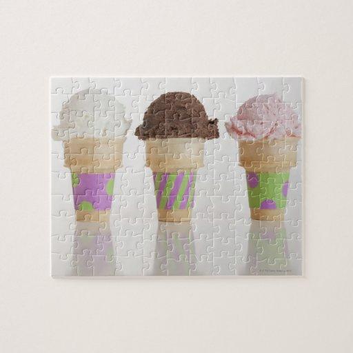 Tres conos de helado puzzle