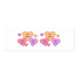 Tres corazones del caramelo tarjetas de visita mini