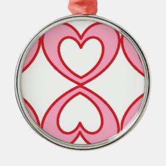 Tres corazones en estilo afortunado del número 8 adorno navideño redondo de metal