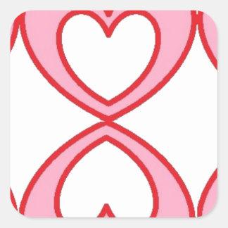 Tres corazones en estilo afortunado del número 8 pegatina cuadrada