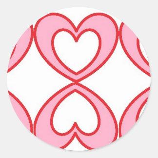 Tres corazones en estilo afortunado del número 8 pegatina redonda