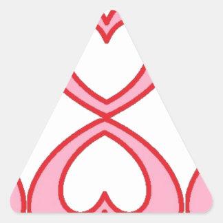 Tres corazones en estilo afortunado del número 8 pegatina triangular