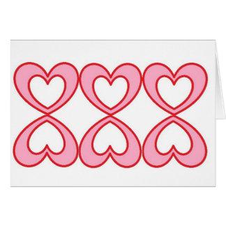 Tres corazones en estilo afortunado del número 8 tarjeta de felicitación