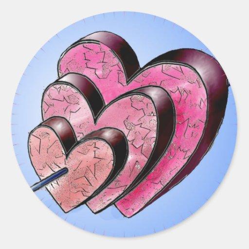tres corazones pegatina redonda