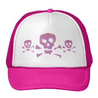 Tres cráneos abstractos rosados gorra