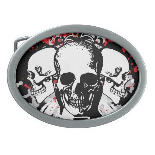 Tres cráneos hebilla cinturon