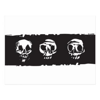 Tres cráneos humanos tarjetas postales