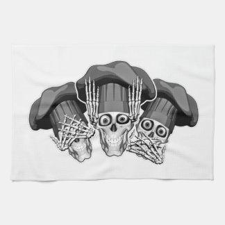 Tres cráneos sabios del cocinero toallas de mano