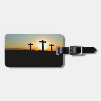 Tres cruces etiquetas para maletas