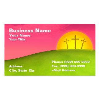 Tres crucifijos en la colina contra puesta del sol plantillas de tarjetas personales
